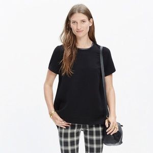 Madewell Crepe Tailored Tee with Leather Trim